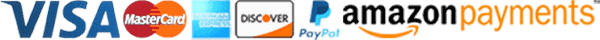 Payment logos including Visa, MasterCard, American Express, Discover, PayPal, and Amazon Payments